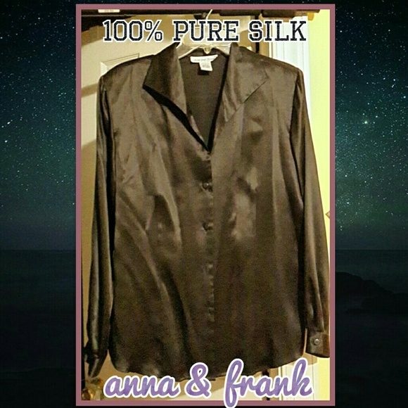 8be9e1aa Anna And Frank Tops | Vintage 100 Silk Black Buttondown Blouse ...